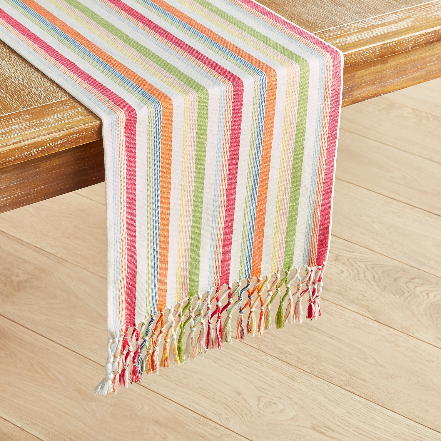 Citrus Striped Table Runner with Fringe