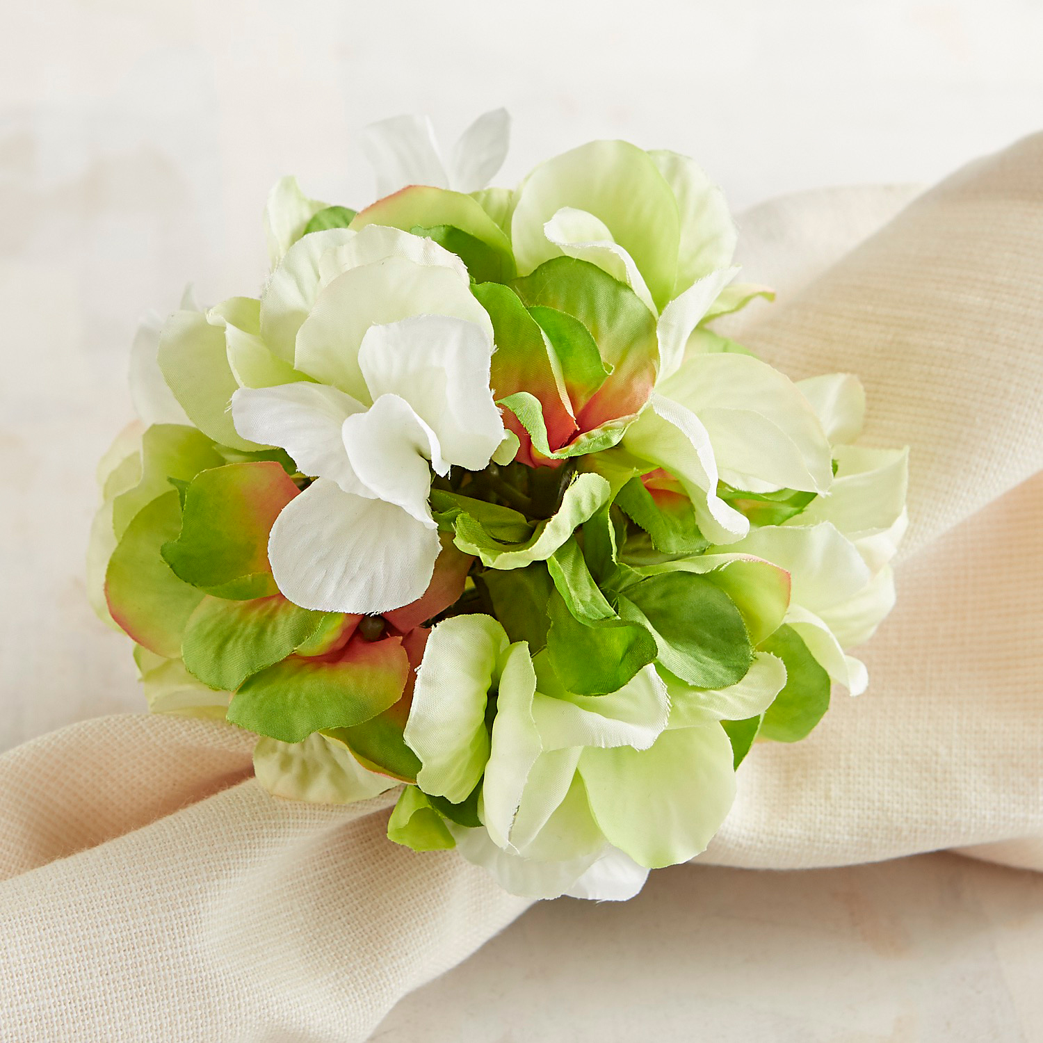 Green & White Hydrangea Napkin Ring