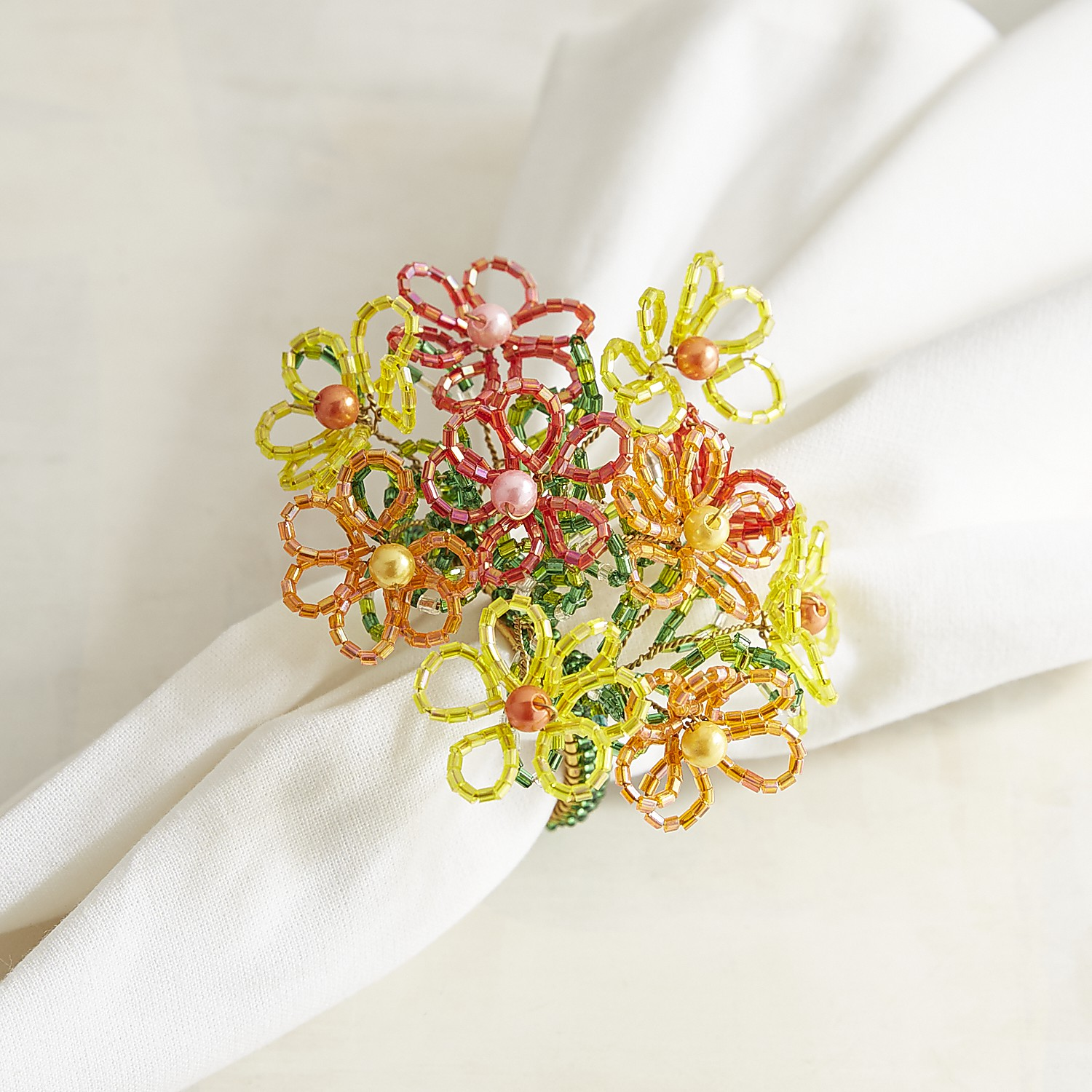 Floral Spray Beaded Napkin Ring