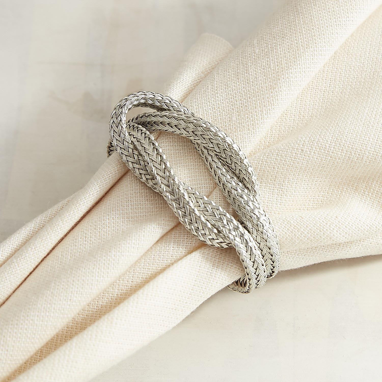 Silver Woven Metal Napkin Ring