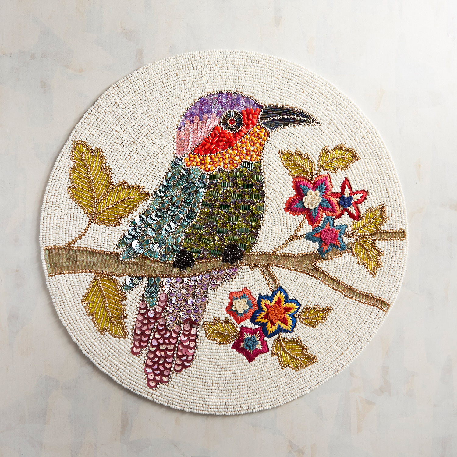 Bright Tropical Bird Beaded Placemat