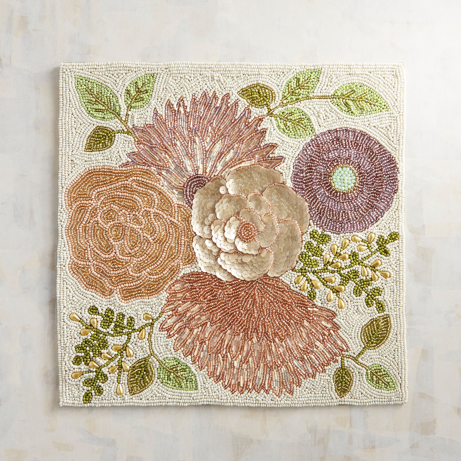 Ethereal Glamour Floral Beaded Placemat