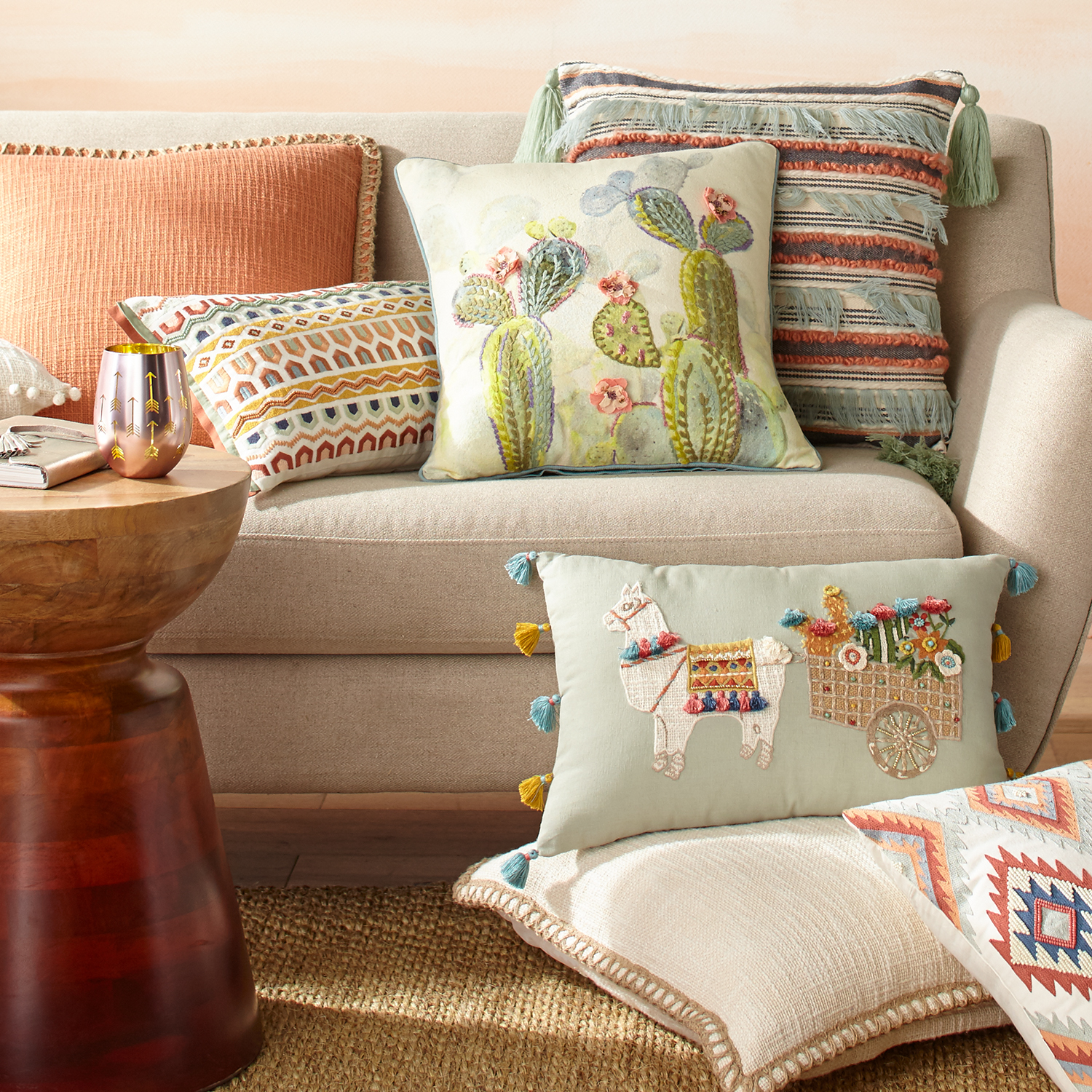 Fringed Textured Striped Pillow