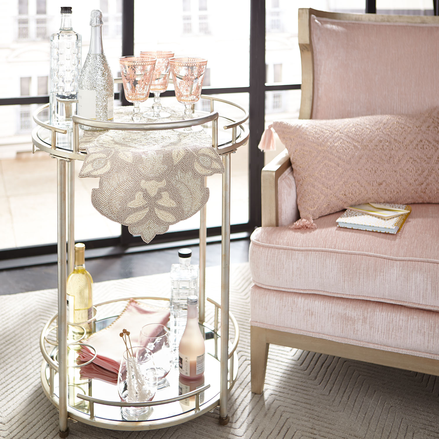 Melina Champagne Blush Wingchair