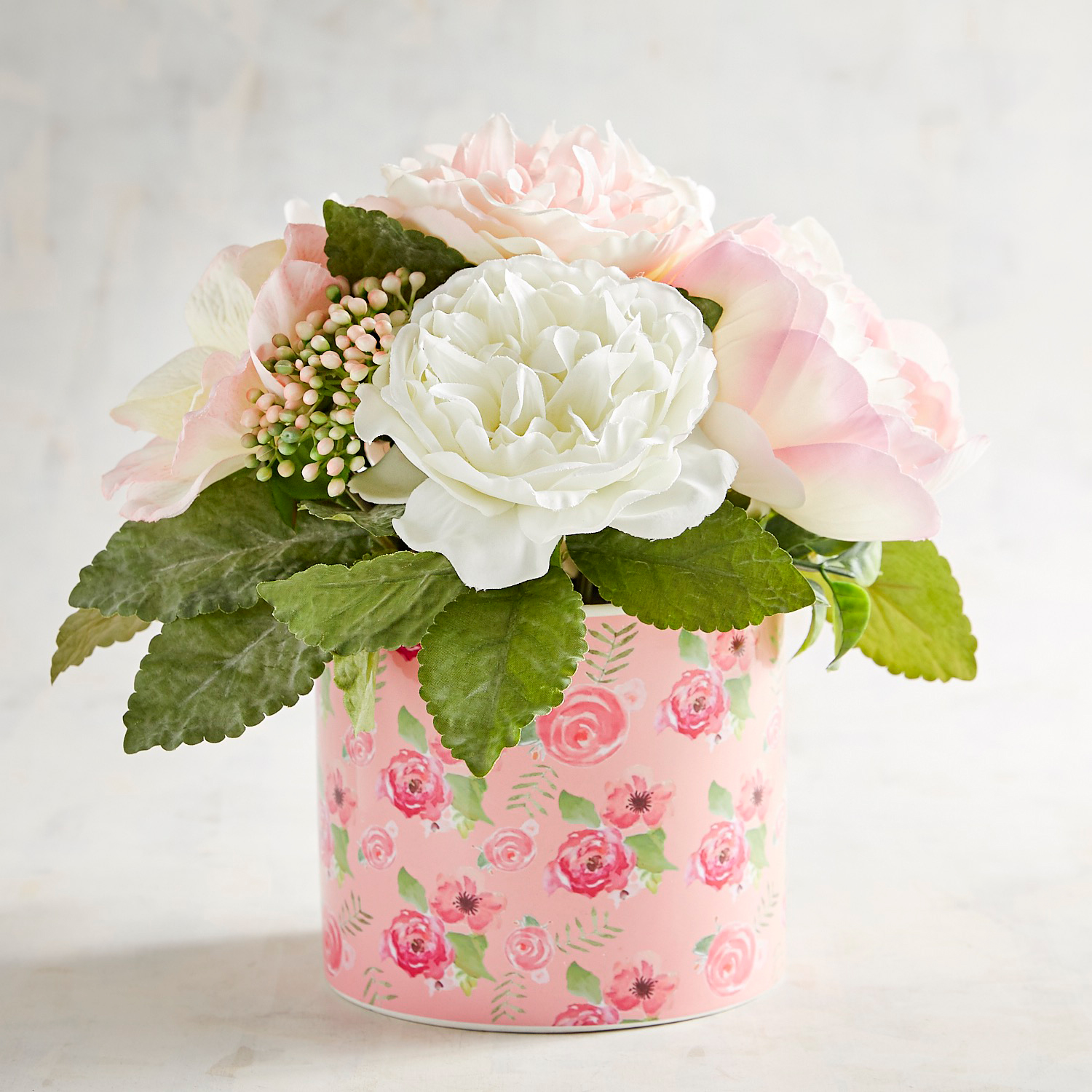 Faux Pink Anemone Floral Arrangement in Floral Printed Pot