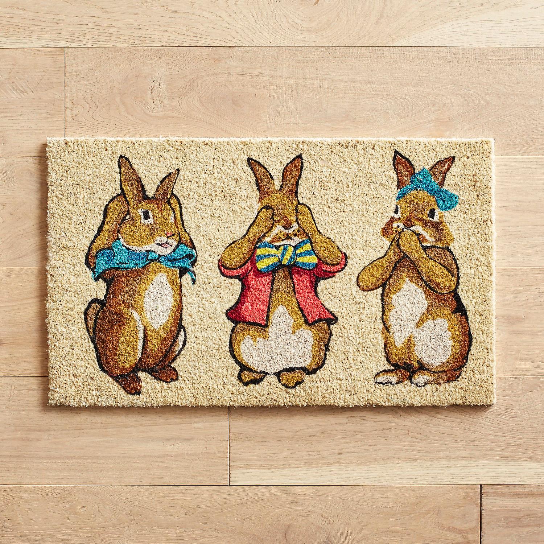 Hear See Speak Bunny Doormat