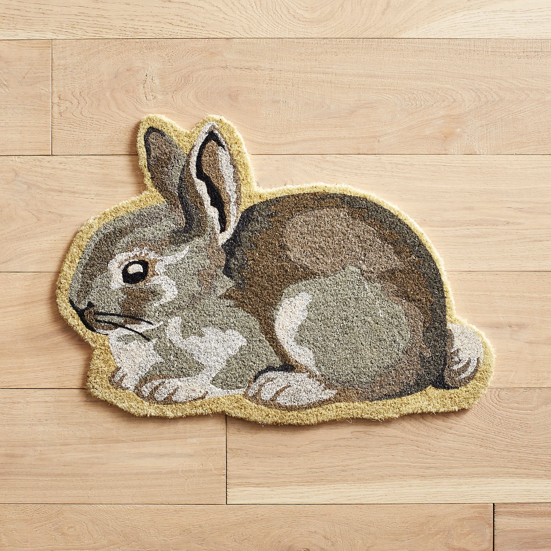 Gray Bunny-Shaped Doormat
