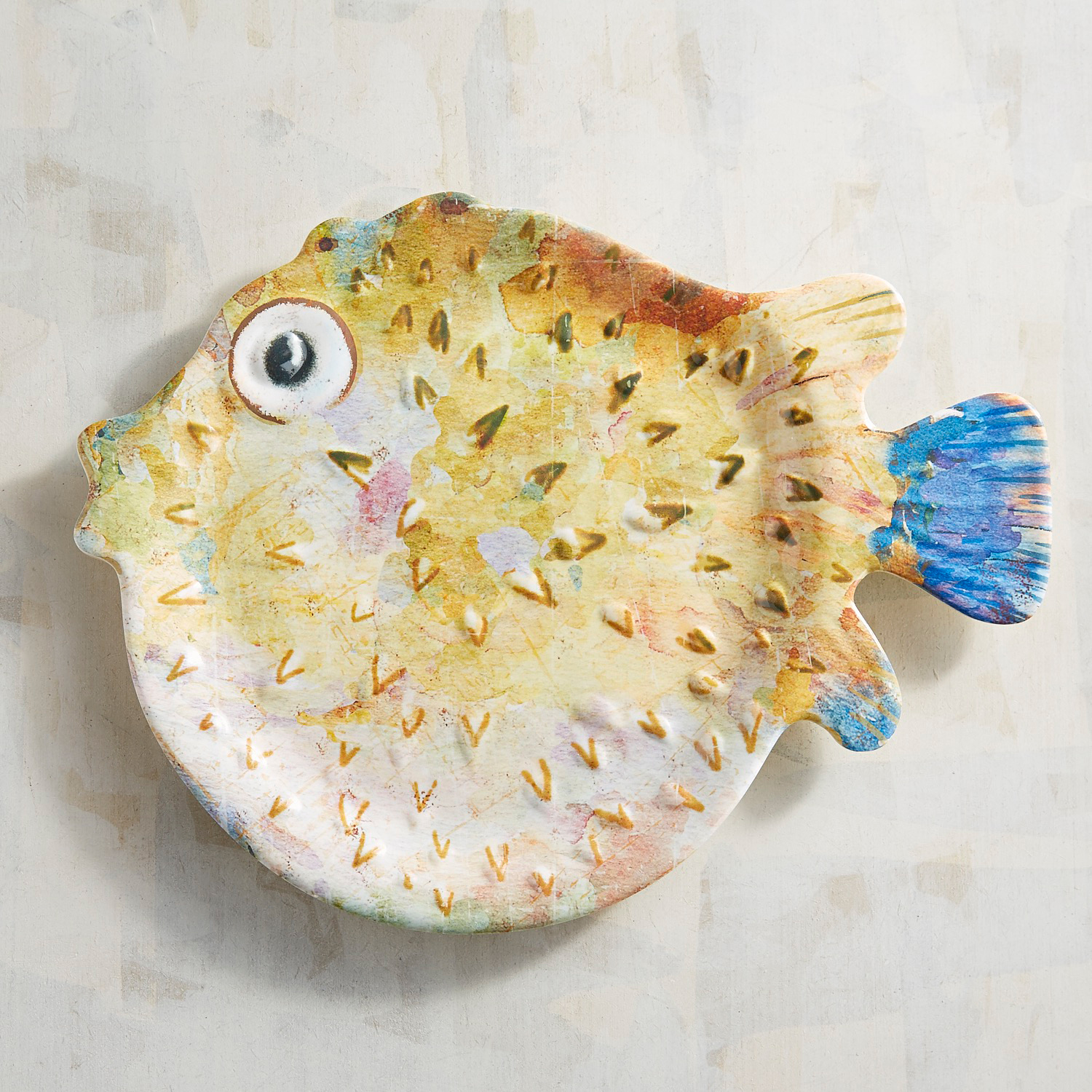 Fluffy the Puffer Fish Melamine Salad Plate