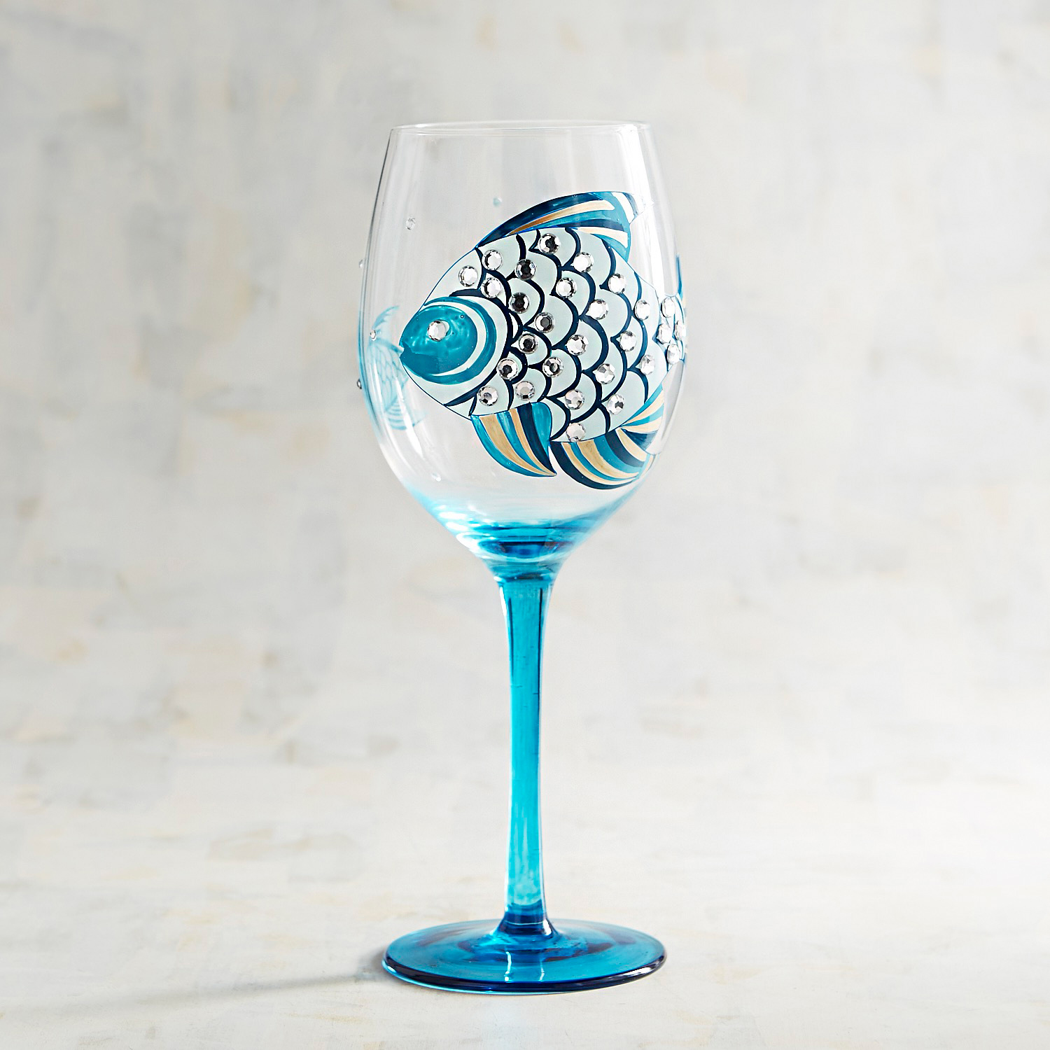 Blue Tropical Fish with Jewels Painted Wine Glass