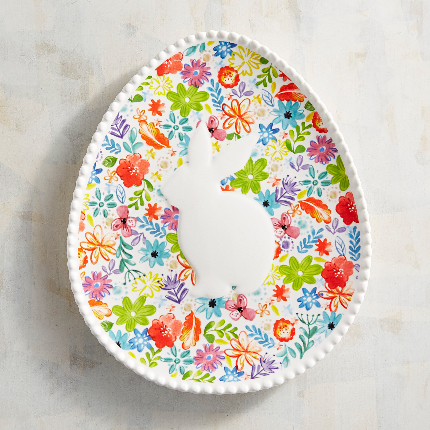 Full Bloom Bunny Egg Accent Plate