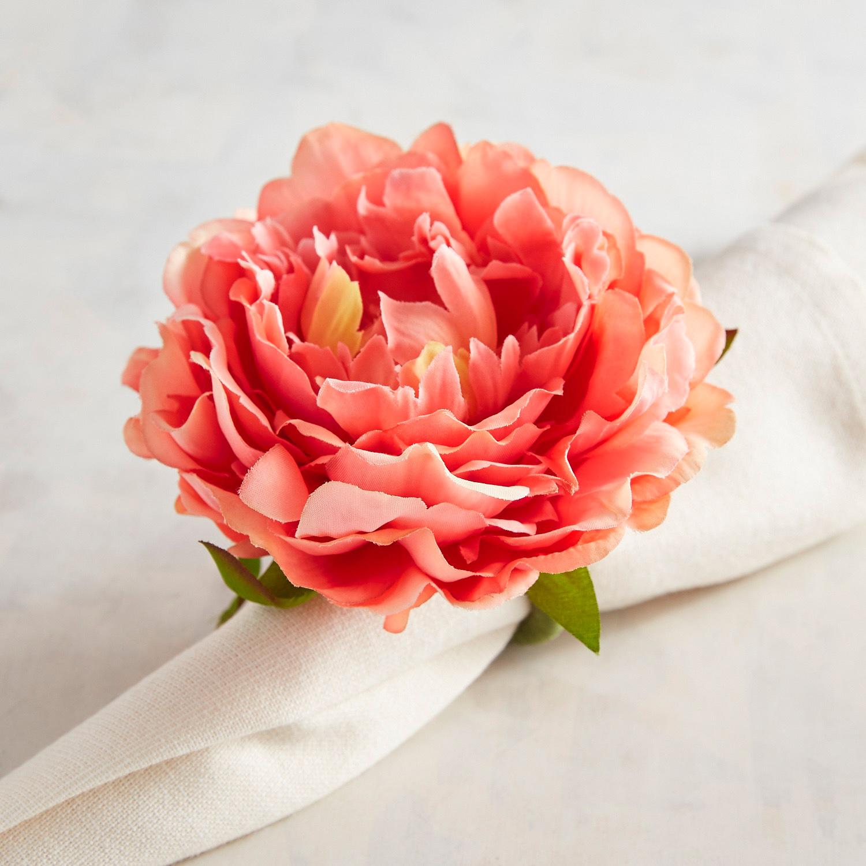 Coral Pink Peony Napkin Ring