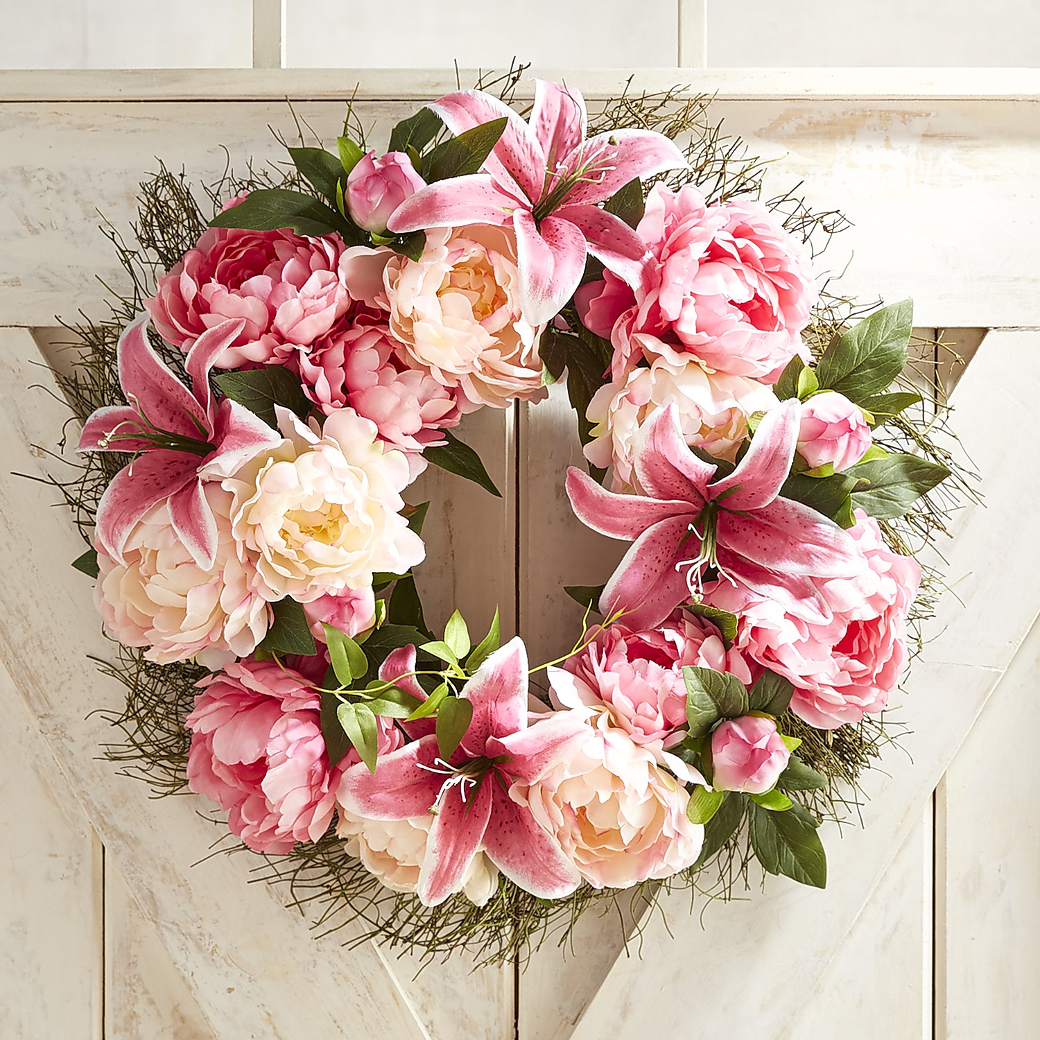 "Faux Pink Peony & Lily 22"" Wreath"