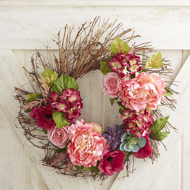"Faux Pink Peony, Hydrangea & Succulent 20"" Wreath"