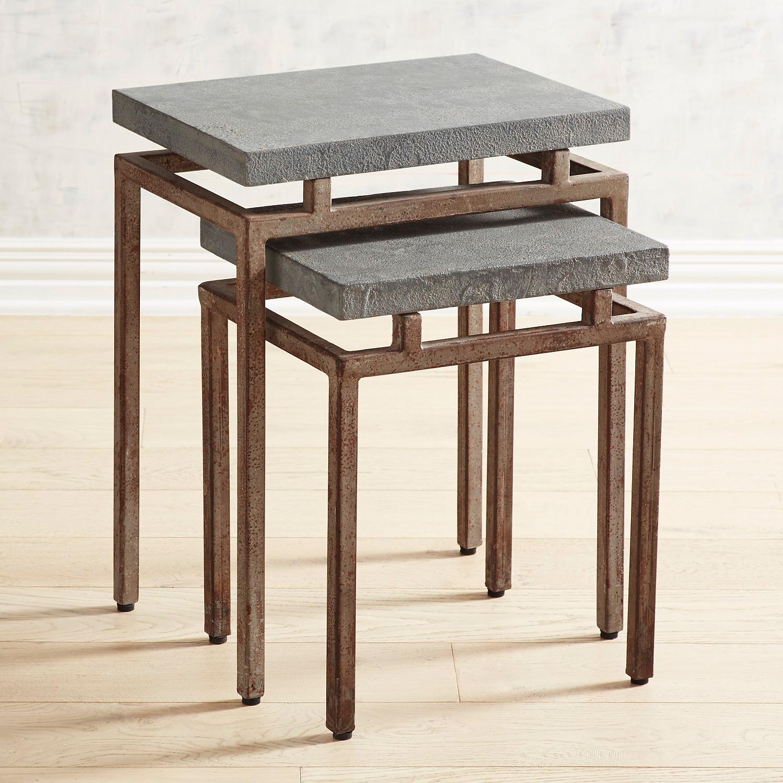Wood & Metal Nesting Tables, Set of 2