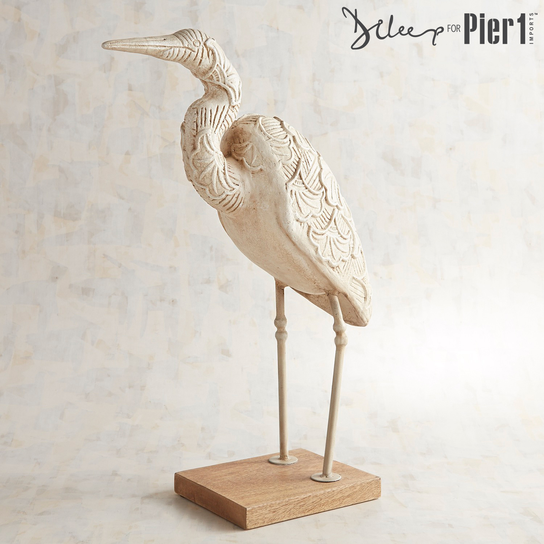 Papier-Mache Standing Crane Sculpture