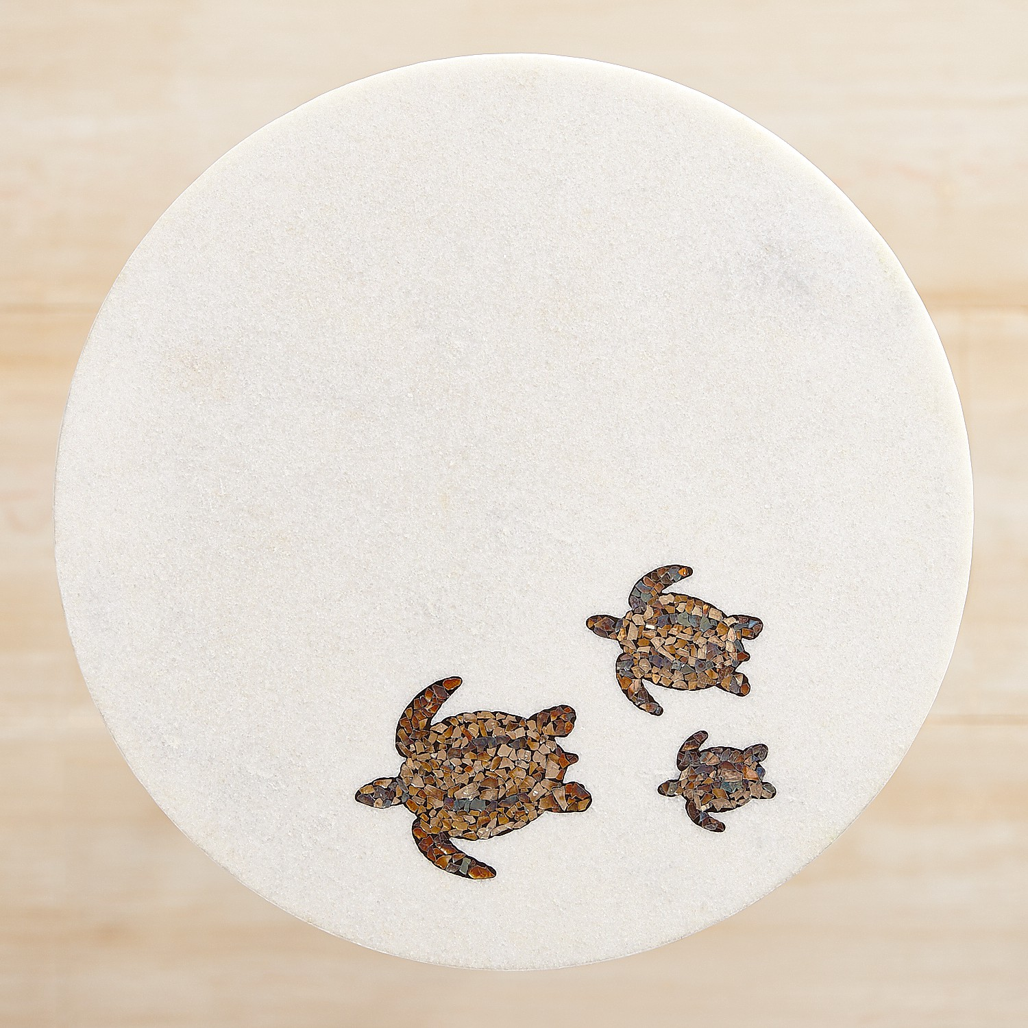 Sea Turtle Marble Inlay Accent Table