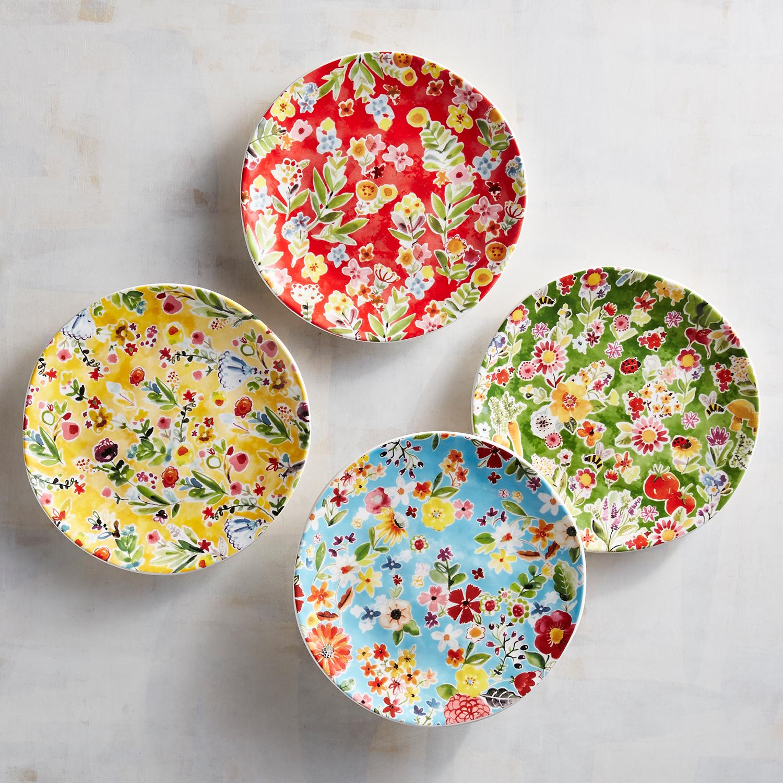 Full Bloom Appetizer Plates, Set of 4