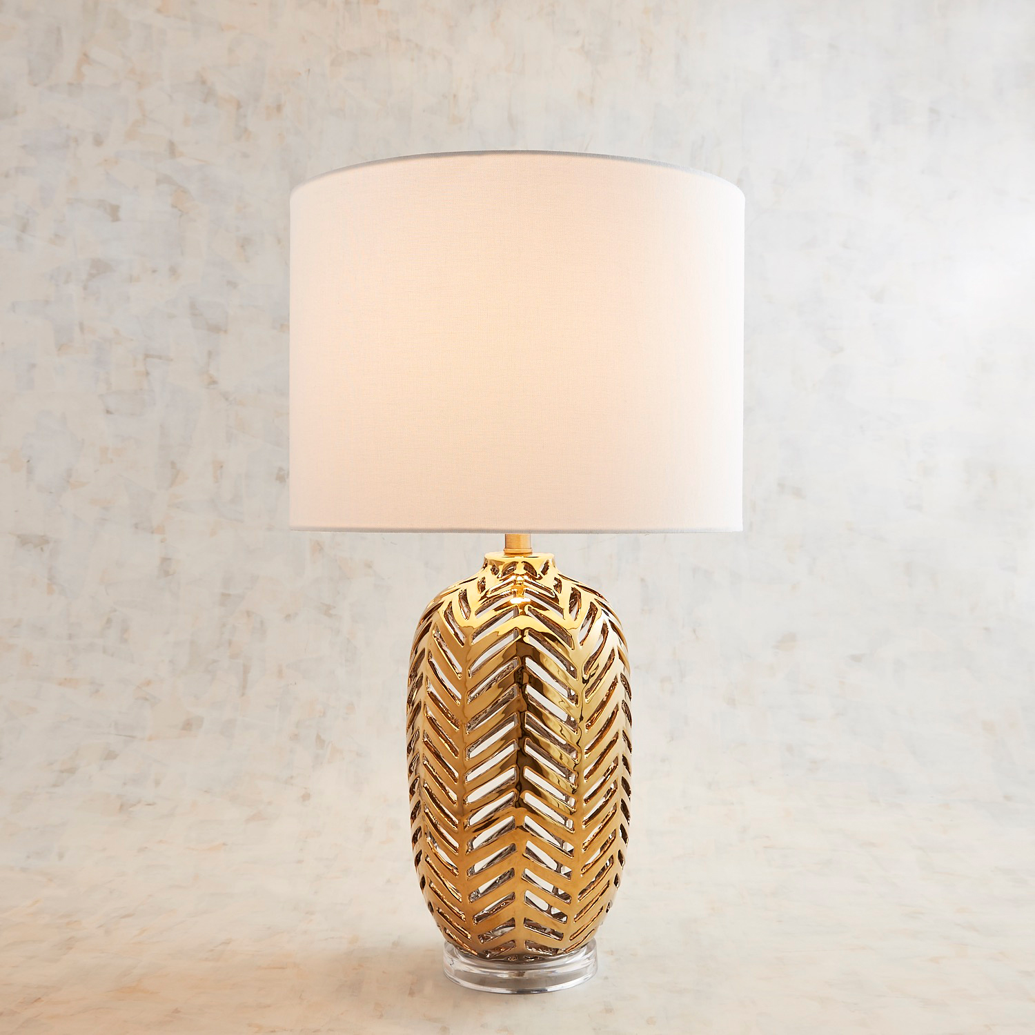 Gilded Cutout Ceramic Table Lamp