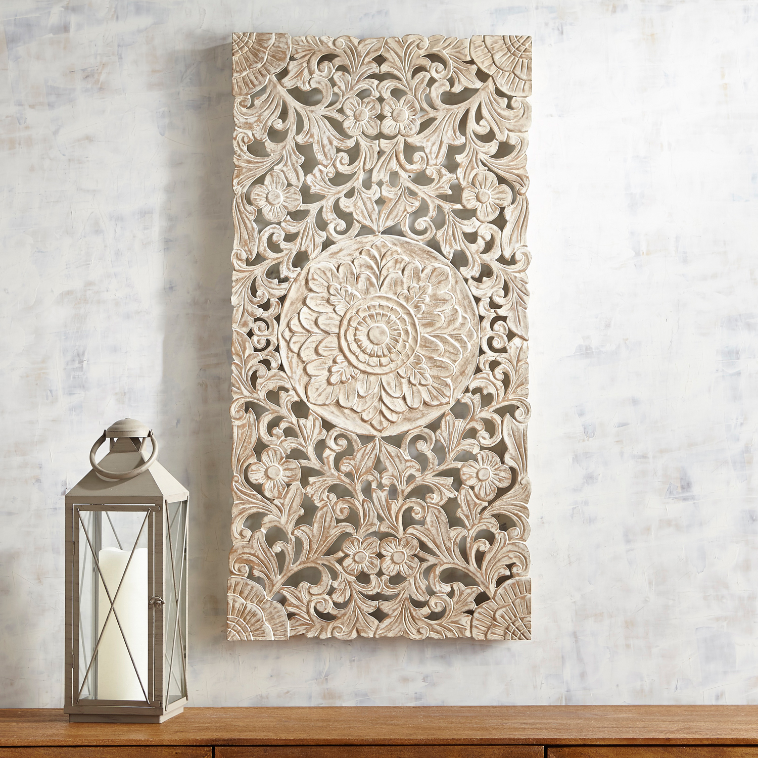 Hand-Carved White Floral Wall Panel