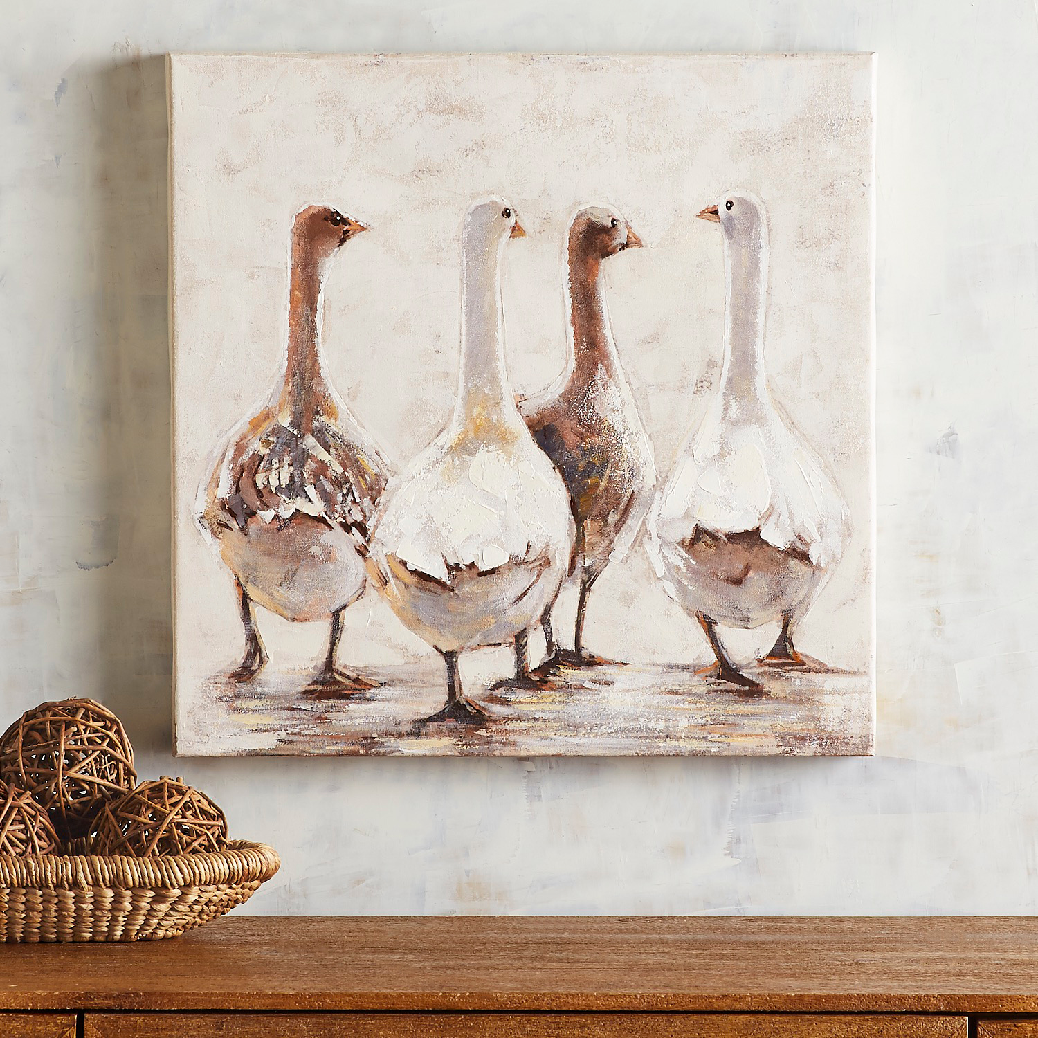 Strolling Along Geese Canvas Wall Art
