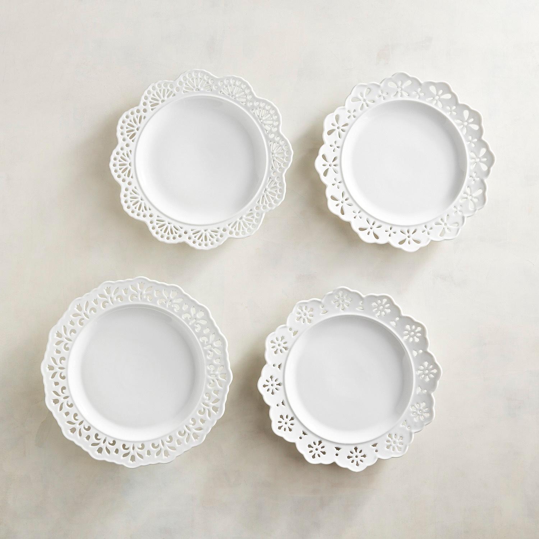 Doily Lace White Plates, Set of 4