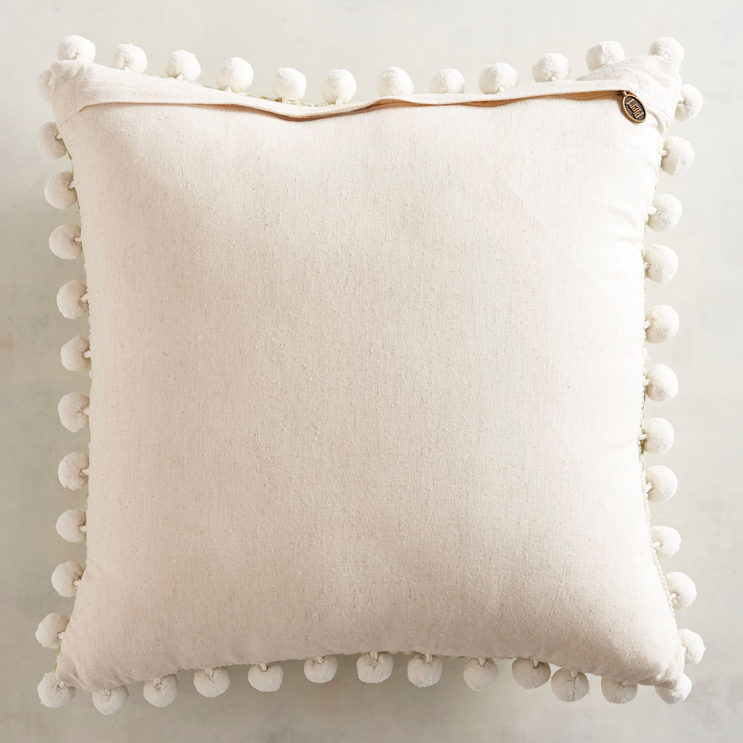 Chunky Textured Green Pillow with Poms