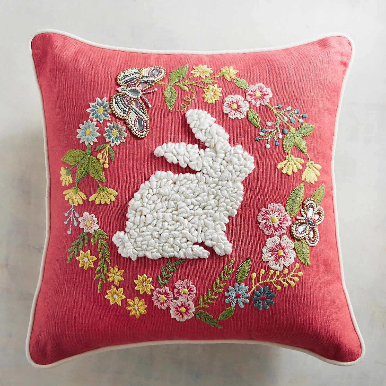 Embroidered Bunny Silhouette in Wreath Pillow