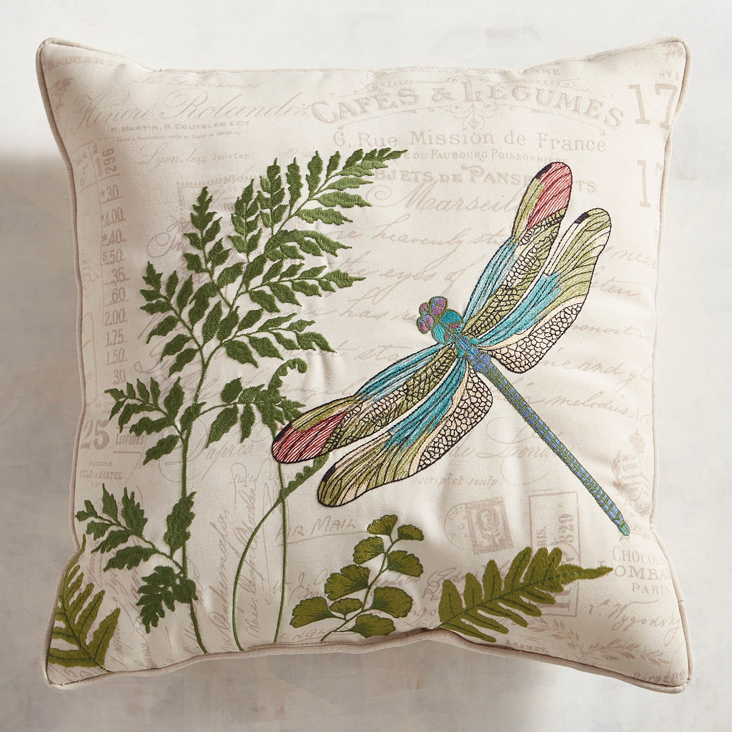 Embroidered Dragonfly Script Pillow