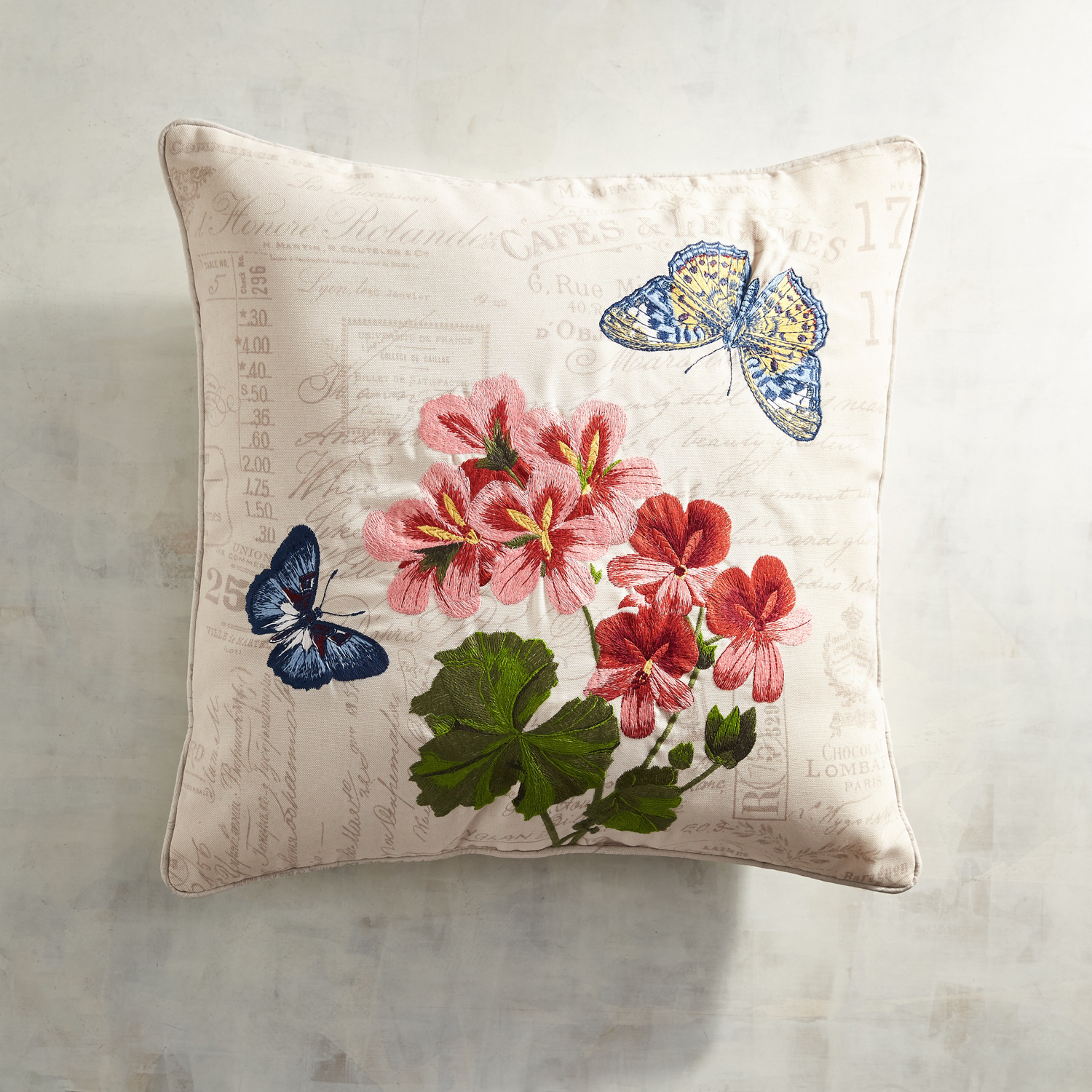 Embroidered Butterfly Script Pillow
