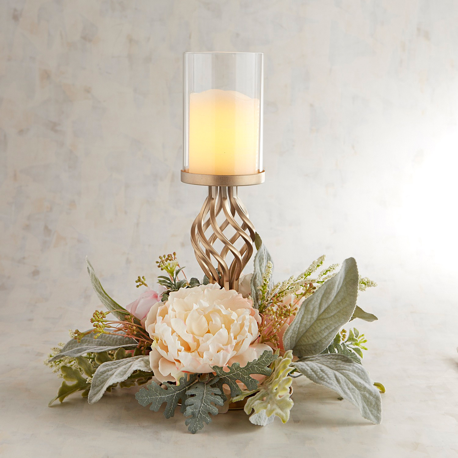 Faux Pink Floral Pillar Candle Holder