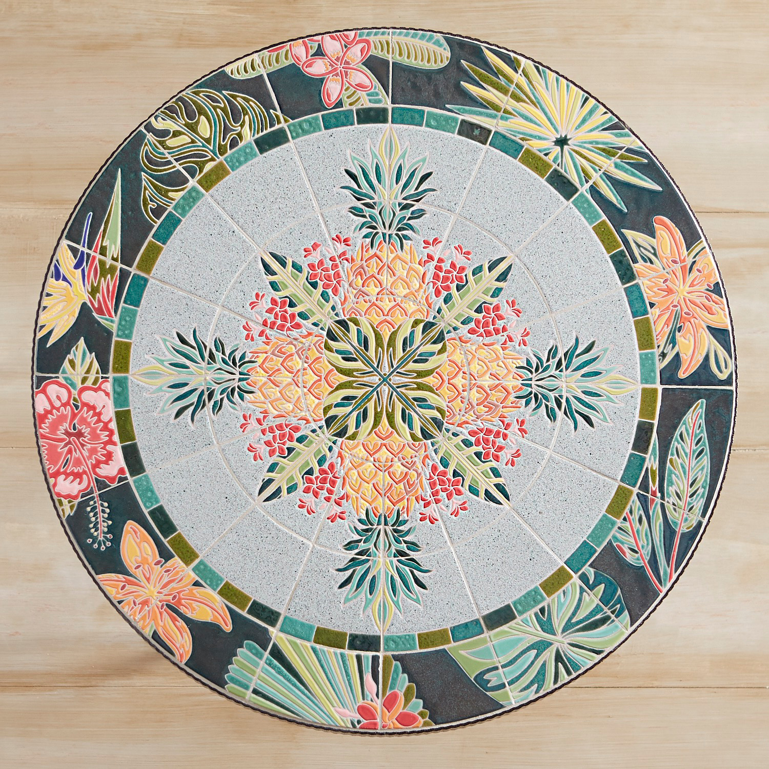"""Tropical Glam Pineapple Mosaic 28"""" Bistro Table"""