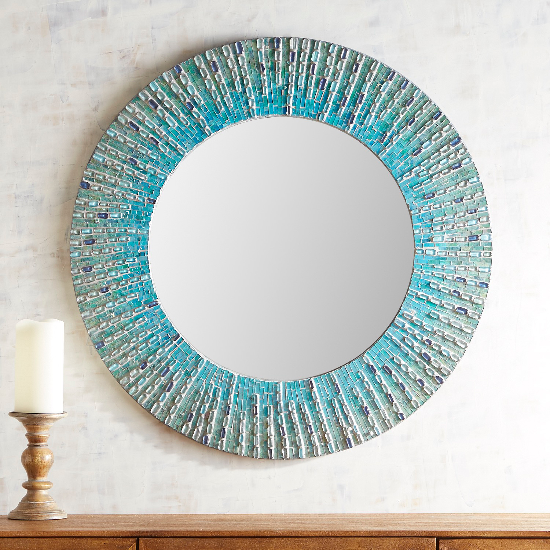 "Sea Glass Mosaic 36"" Round Mirror"
