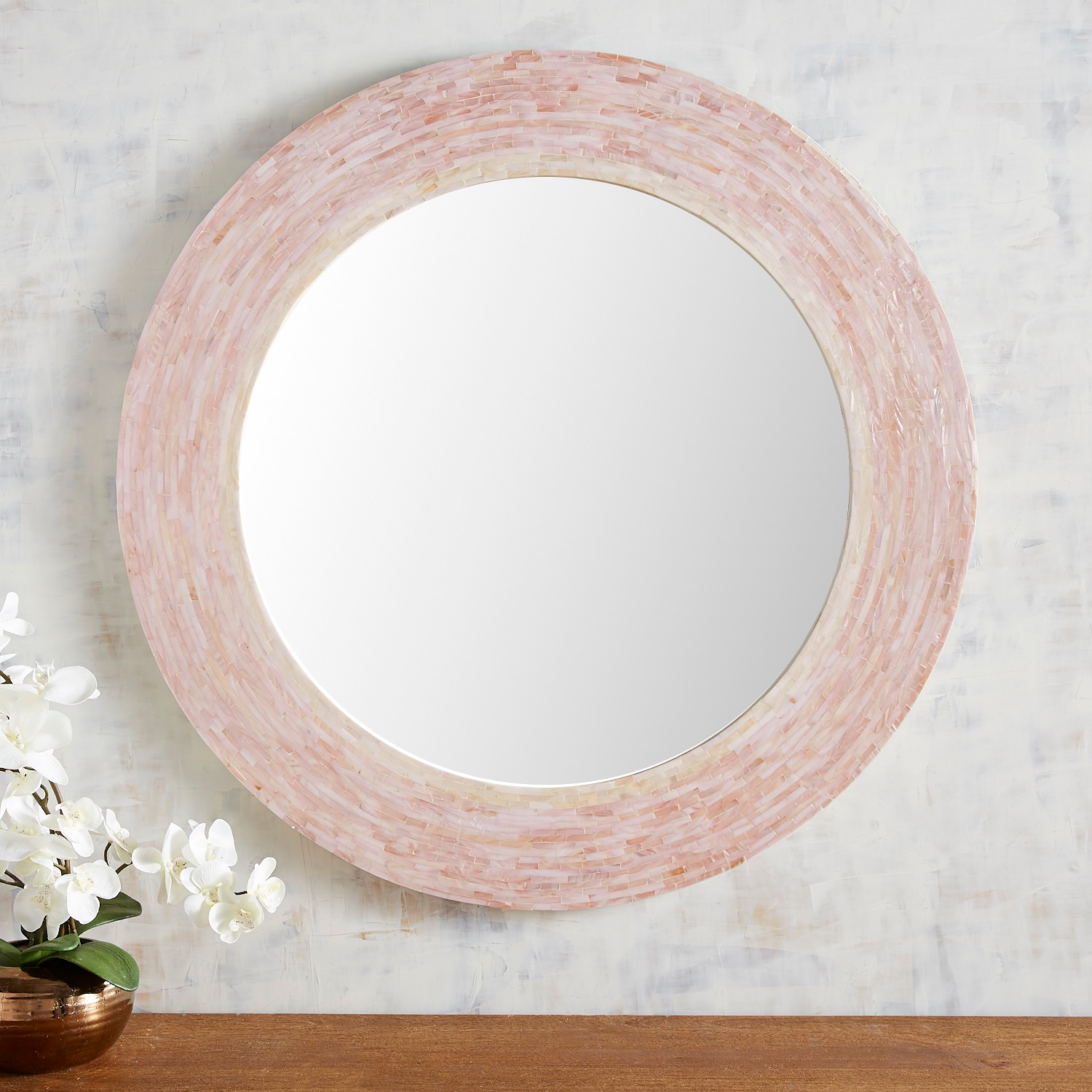 """Mother-of-Pearl Blush 35.5"""" Round Mirror"""