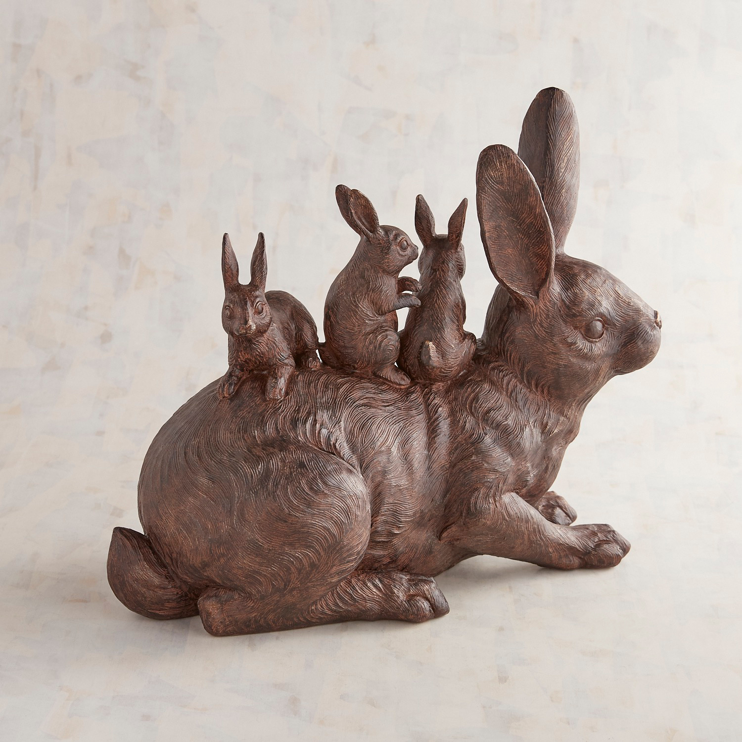 Mama Rabbit & Babies Outdoor Decor