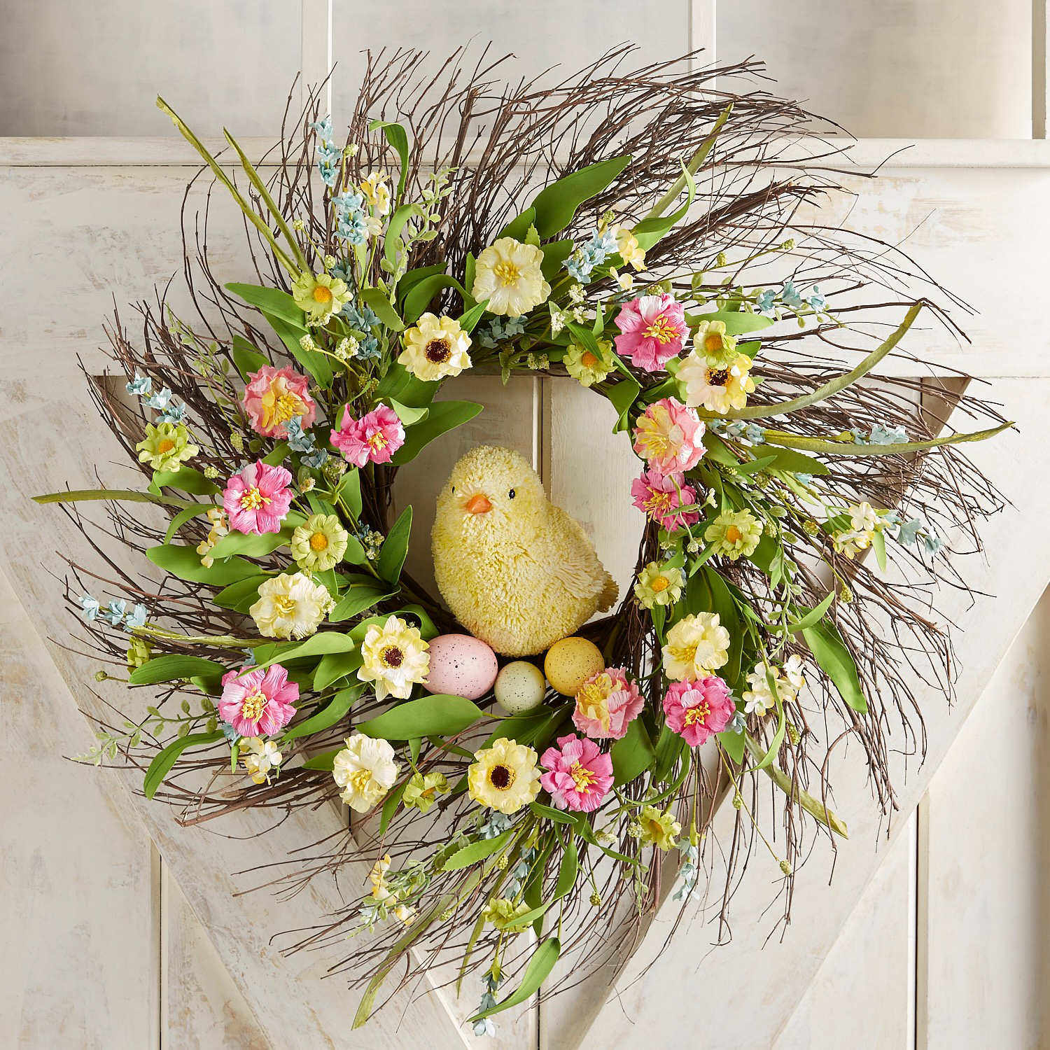"""Yellow Chick in Bright Flowers 24"""" Wreath"""