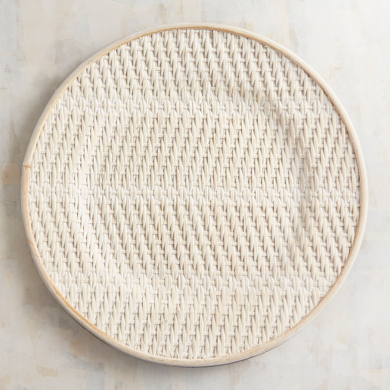 Whitewashed Woven Rattan Coupe Charger Plate