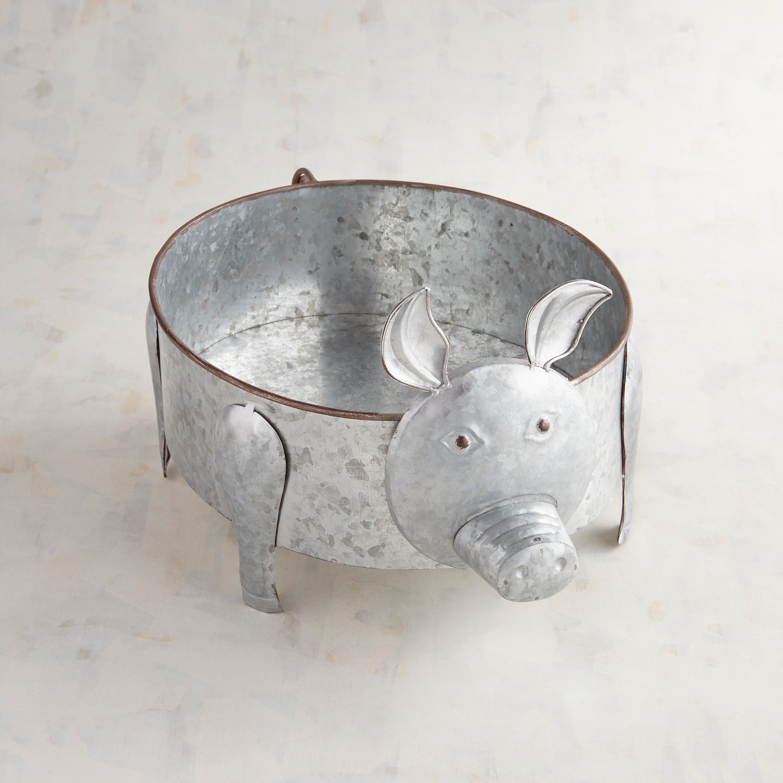 Galvanized Pig Serving Bowl