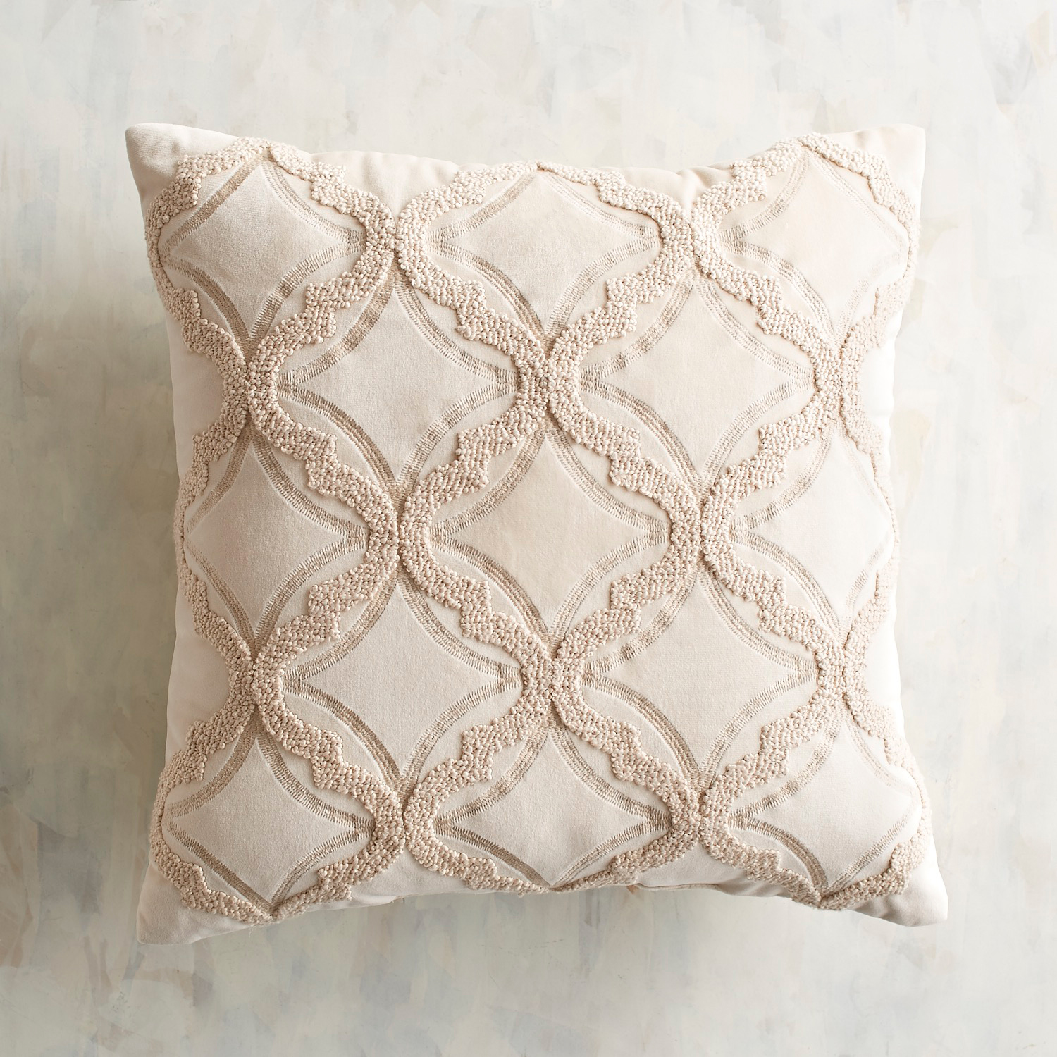 Embroidered Plush Ivory Pillow