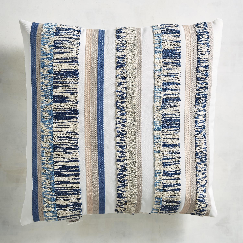 Embroidered Chenille Stripe Indigo Pillow