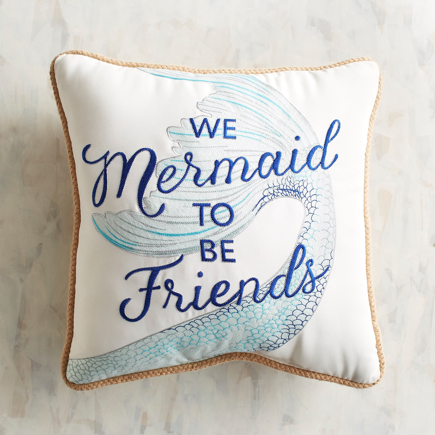 Embroidered Mermaid Pillow