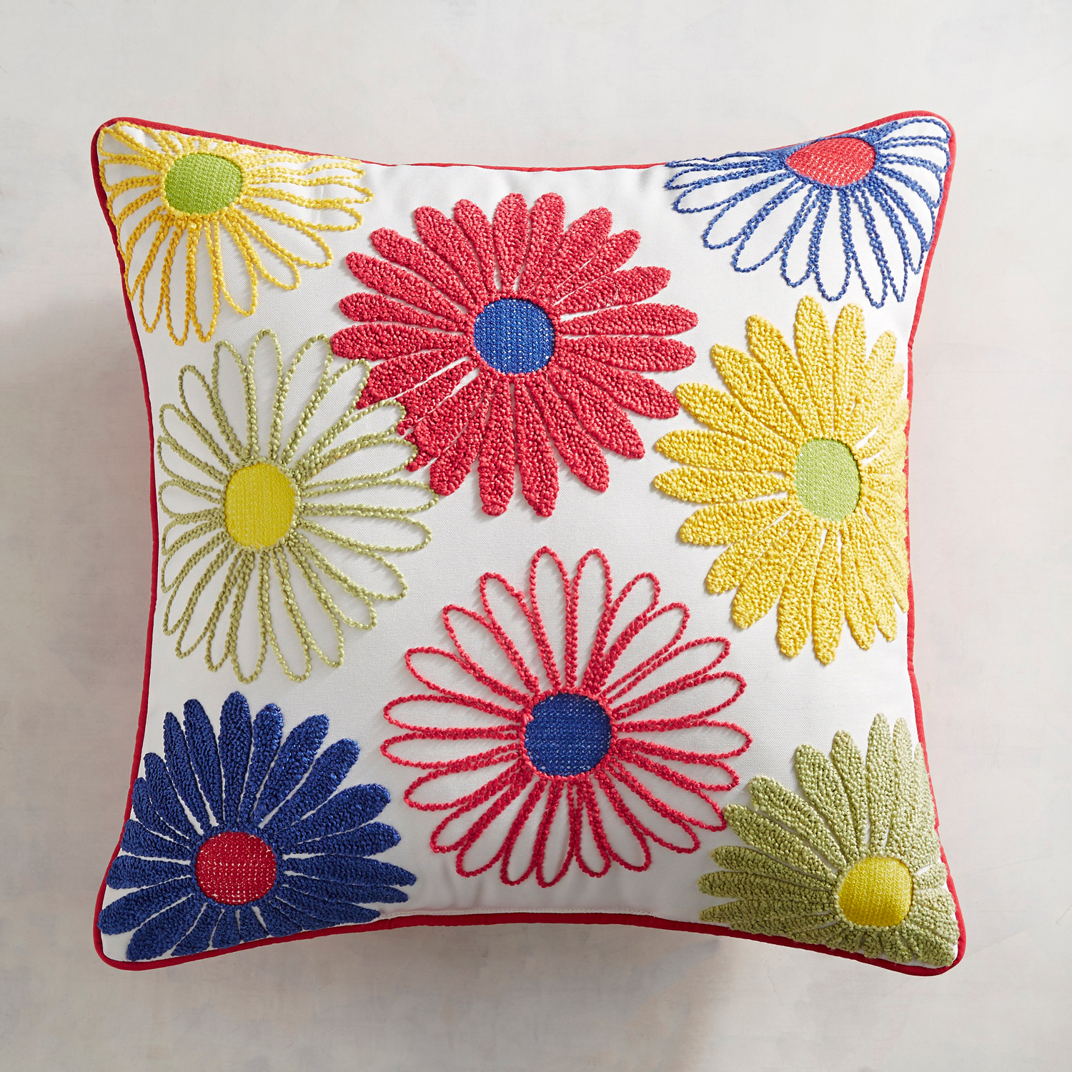 Embroidered Daisies Pillow
