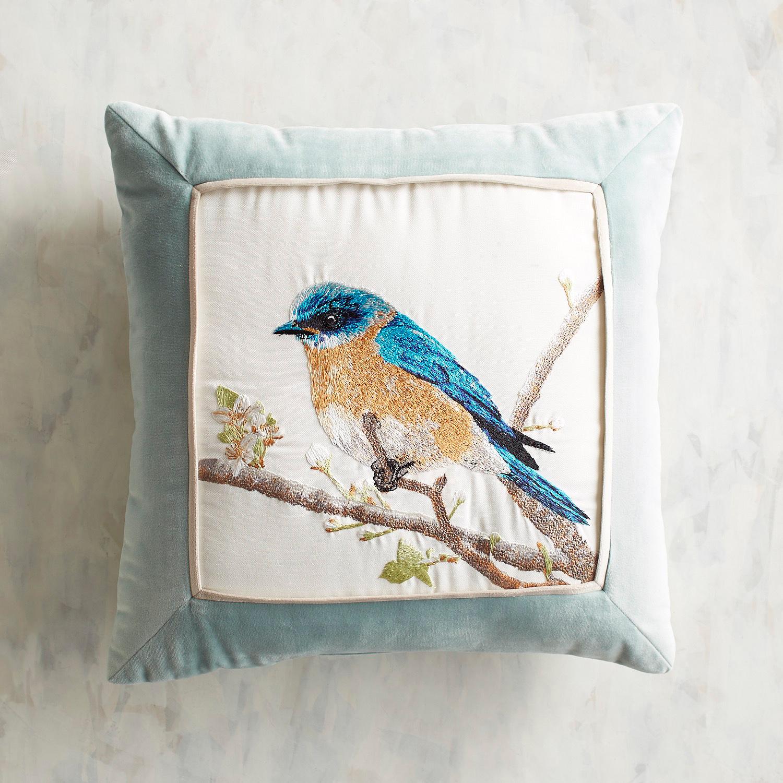 Embroidered Bluebird Pillow