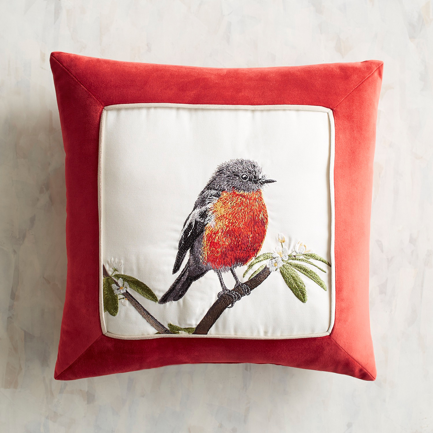 Embroidered Robin Pillow