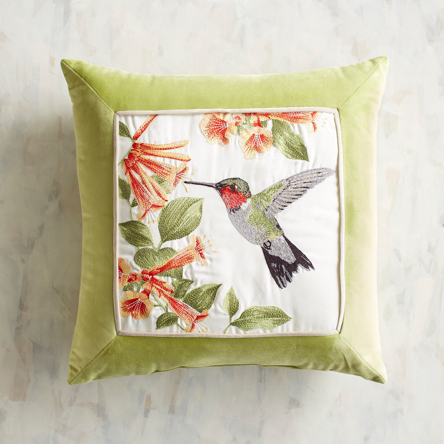Embroidered Hummingbird Pillow