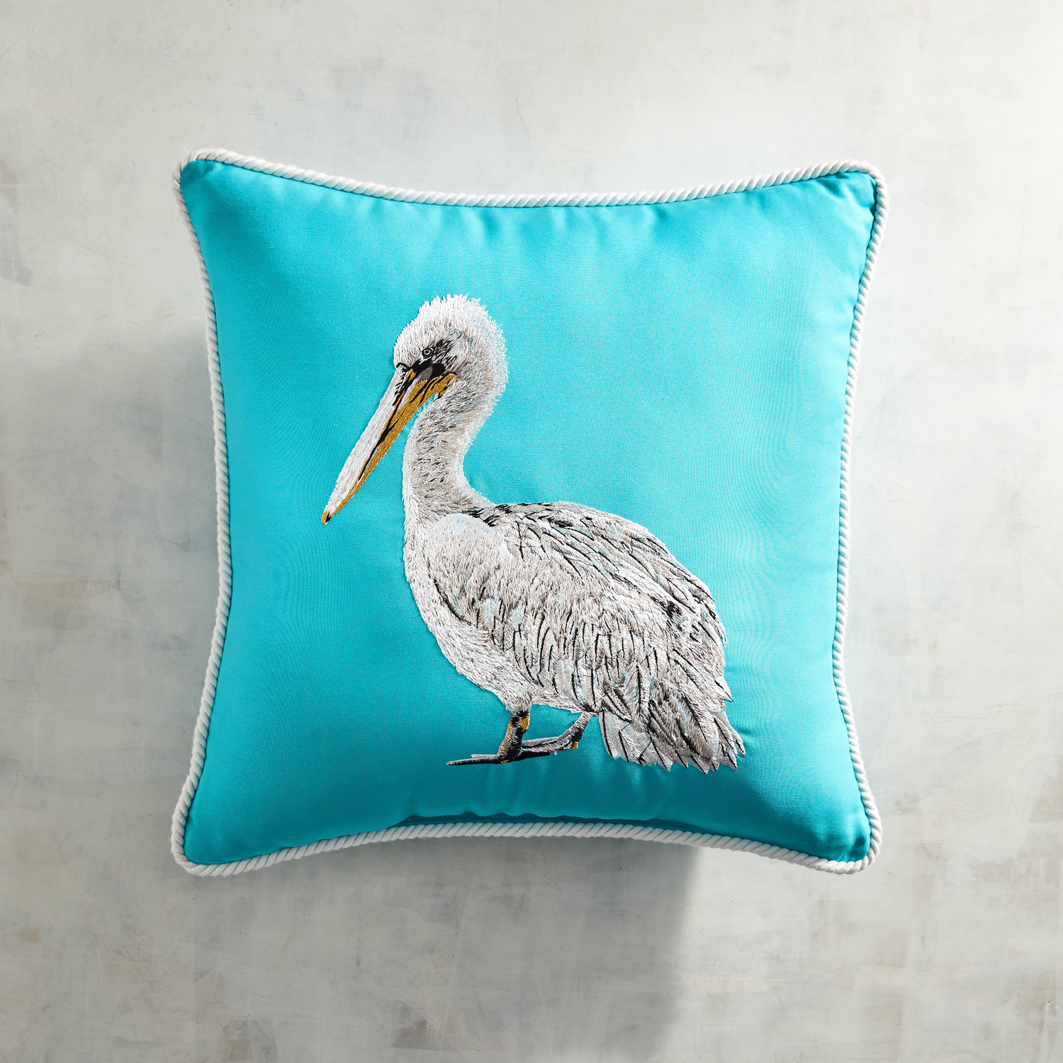 Embroidered Pelican Turquoise Pillow