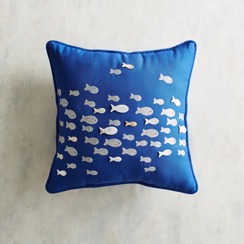 Embellished Fish School Cobalt Pillow