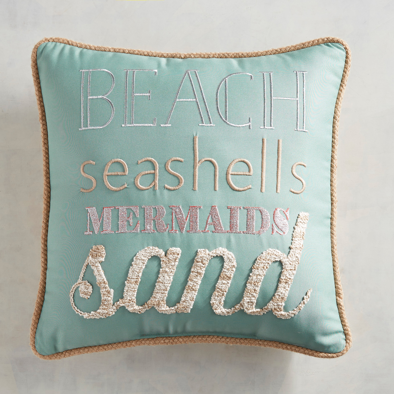Embroidered Beachy Sentiment Pillow