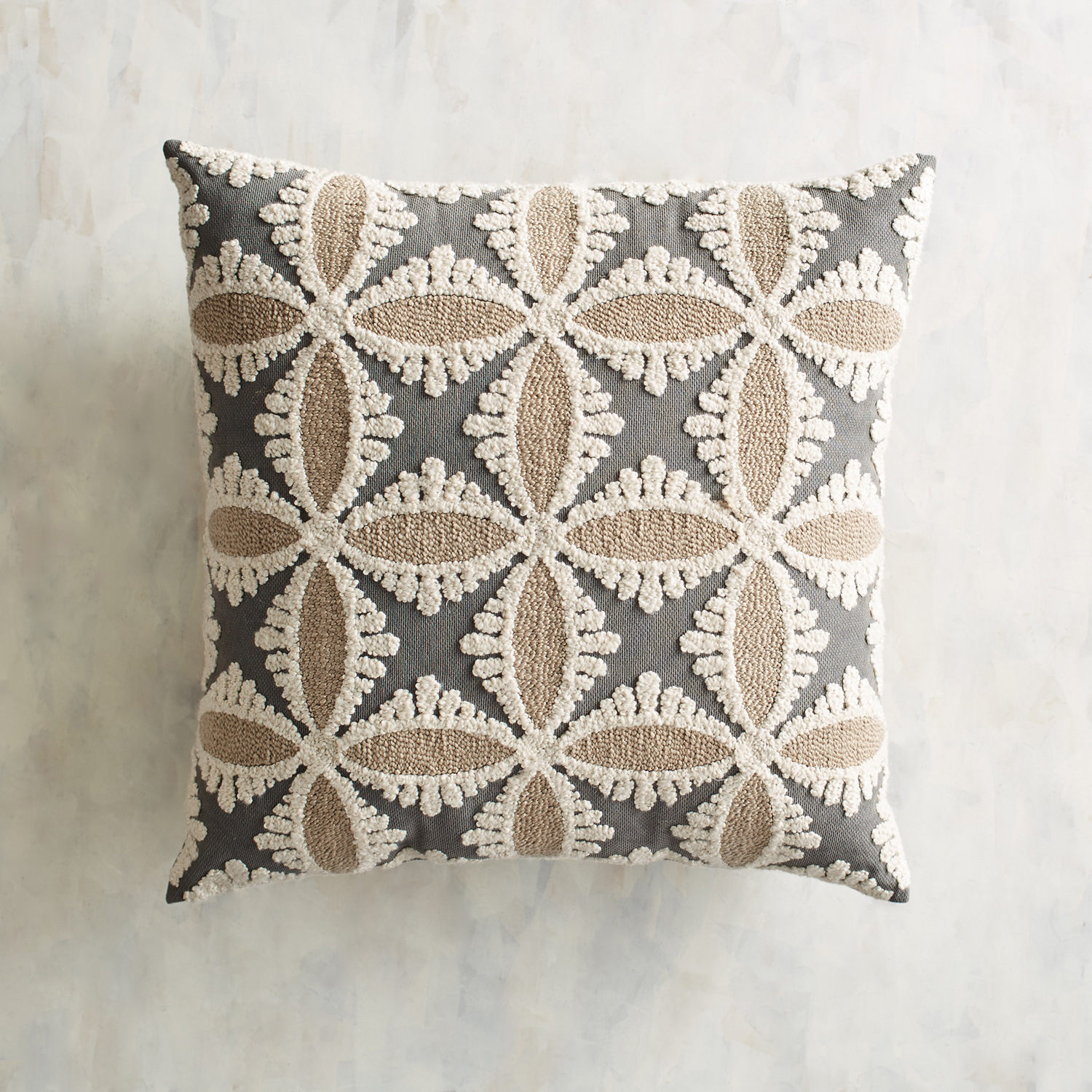 Embroidered Tile Graphite Pillow
