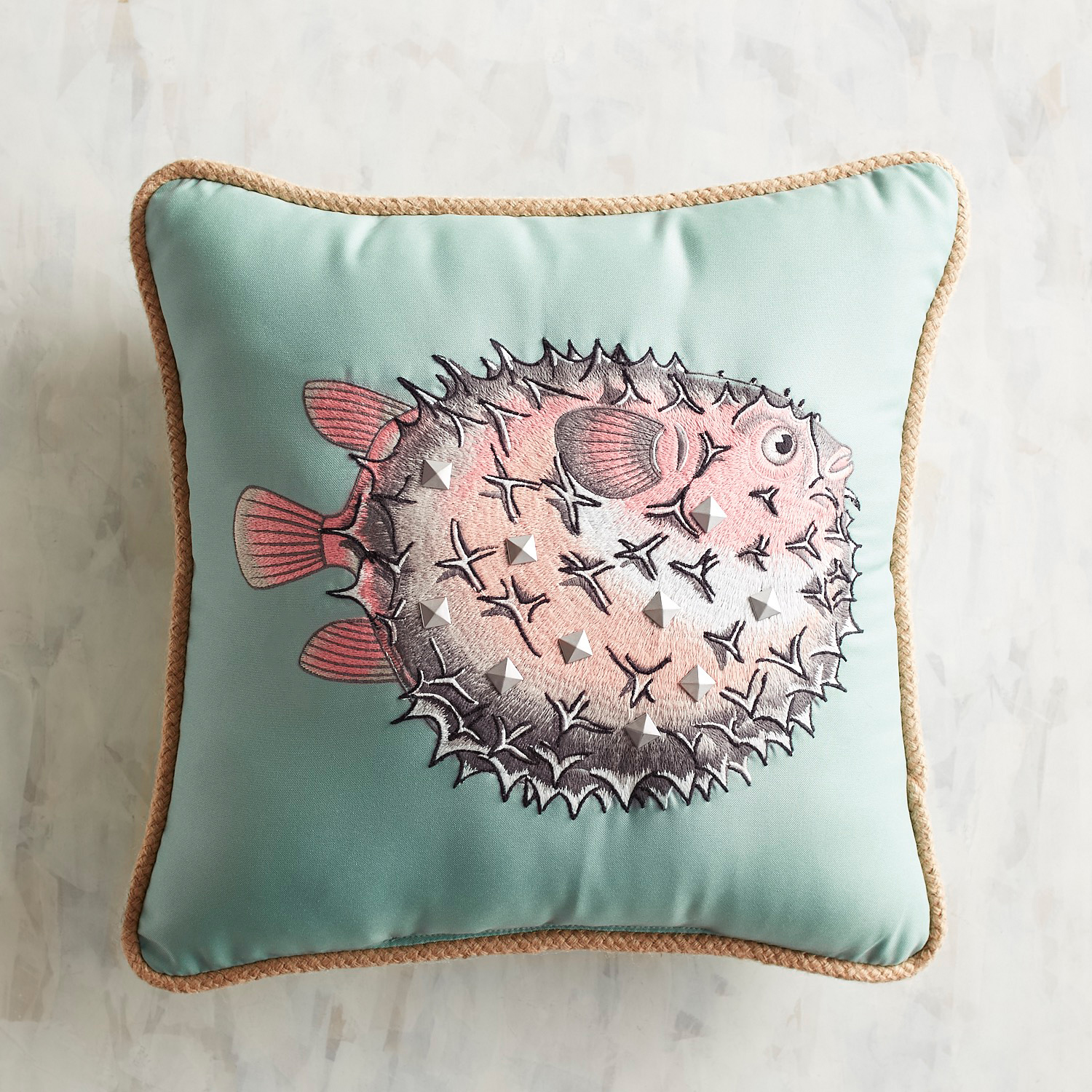 Embellished Puffer Fish Pillow
