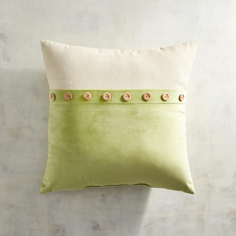 Plush Button Trim Fern Pillow